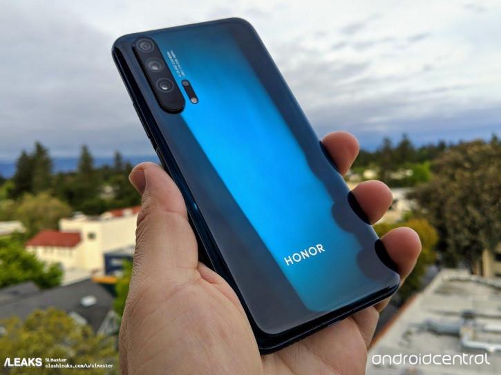 Honor 20 Pro в синем цвете на живых фото со всех сторон