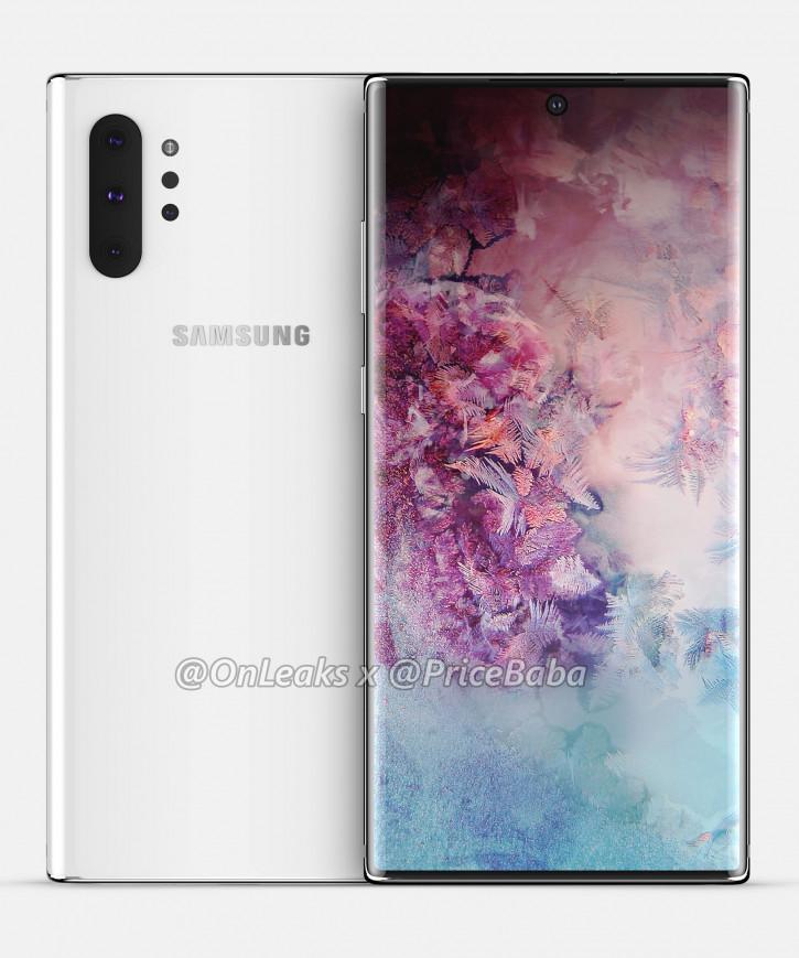 Рендеры Samsung Galaxy Note 10 Pro без аудиоразъеме и Bixby в белом