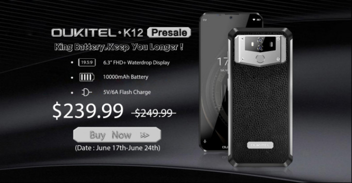 Старт предзаказов Oukitel K12, смартфона-пауэрбанка с вырезом-каплей