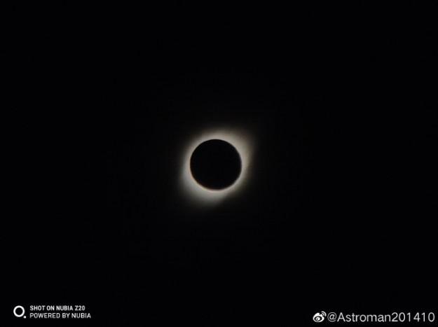 На камеру Nubia Z20 сняли полное солнечное затмение