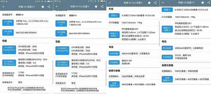 Рассекречены характеристики Honor 9X и Honor 9X Pro