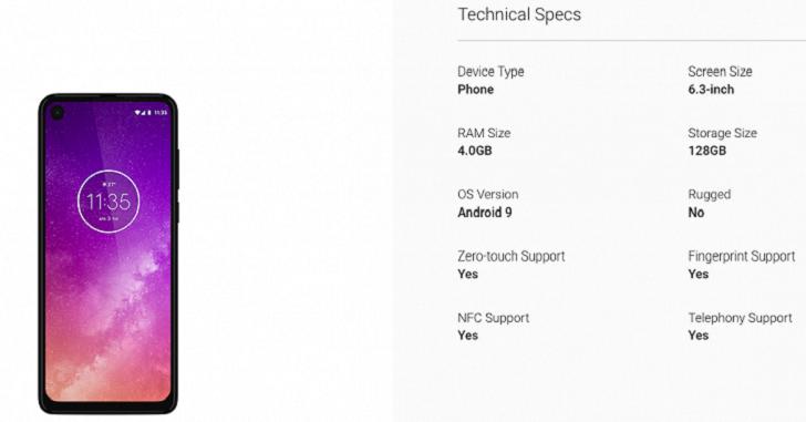 Технические характеристики Motorola One Action слиты в сеть
