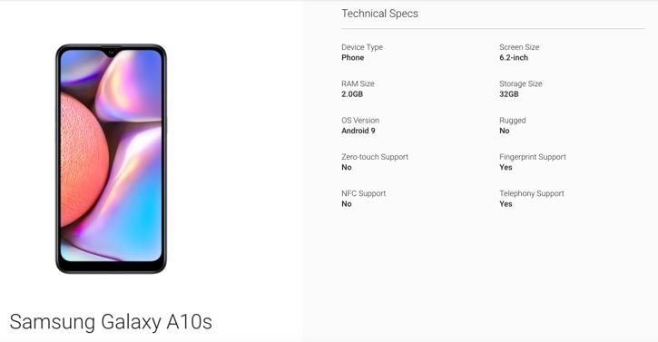 Ультрабюджетник Samsung Galaxy A10s показался на сайте Android