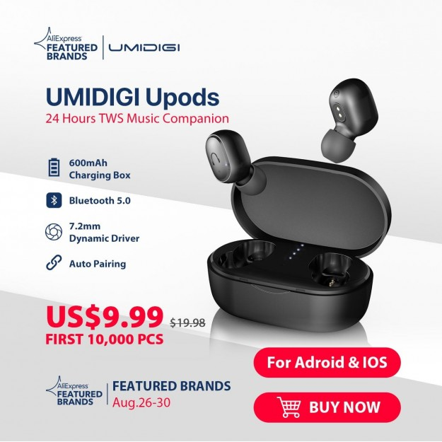 Король соотношения цены и качества UMIDIGI X стартовал по 179.99$ с беспроводными наушниками Upods на AliExpress