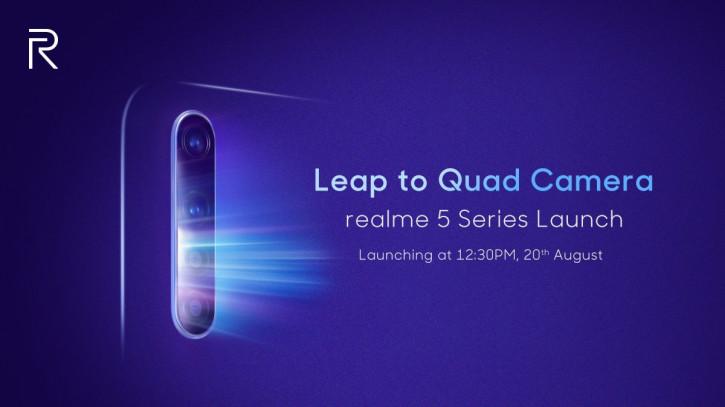 Официально: Realme 5 с Quad-камерой будет представлен 20 августа