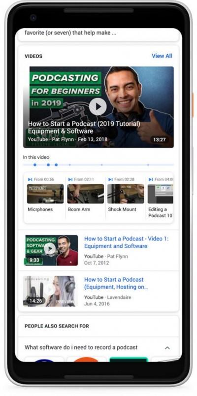 Поиск Google теперь может найти ключевые моменты в видео