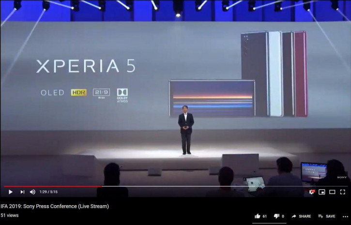 Sony случайно подтвердила Xperia 5 накануне анонса