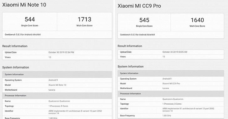 Xiaomi Mi Note 10 и Mi CC9 Pro протестированы в Geekbench 5