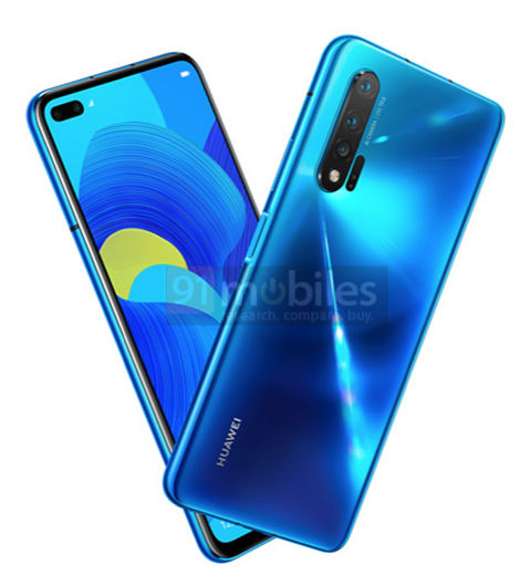 Huawei Nova 6 5G с двойной фронталкой в экране на рендере