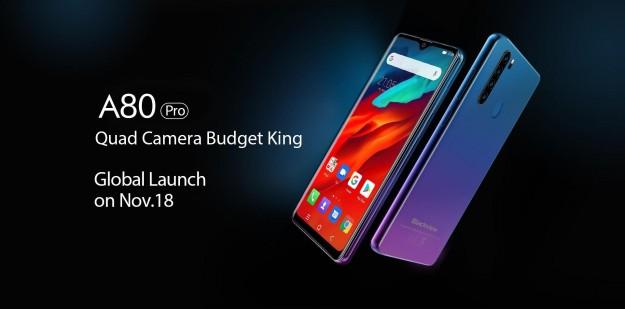 4 основных камеры и бюджетная цена. Blackview A80 Pro будет представлен 18 ноября