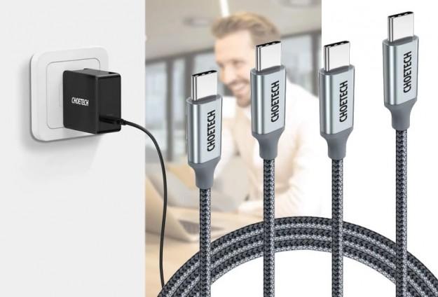 Товар дня: Зарядное Choetech на 60 Вт с Type-C и пара шнуров USB Type-C на 100 Вт со скидкой 20%