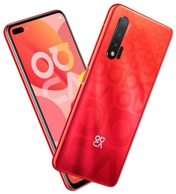 Huawei Nova 6 5G в красном цвете на рендере