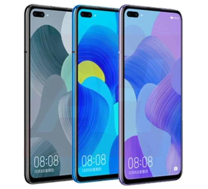 Рендер Huawei Nova 6 с двойной фронталкой в экране в трех цветах