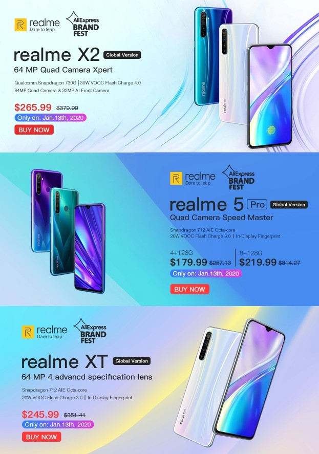 Товар дня: Смартфоны Realme X2 Pro, X2, 5 Pro, XT, 5 со скидкой на Aliexpress
