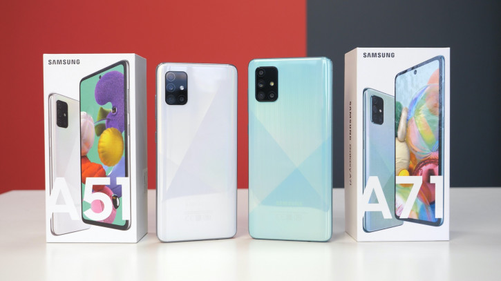 Распаковка Samsung Galaxy A71 рядом с Galaxy A51 от Mobiltelefon.ru