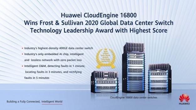 Huawei CloudEngine 16800 получил награду Frost & Sullivan 2020 за технологическое лидерство в отрасли глобальных коммутаторов ЦОД