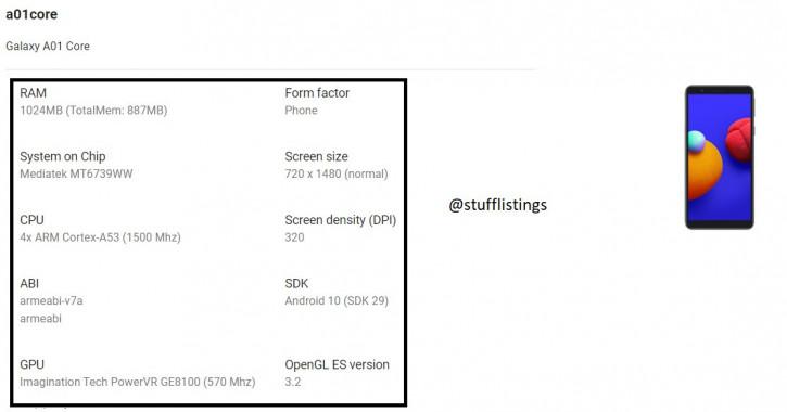 Дешевле дешёвого: утечка характеристик Samsung Galaxy A01 Core