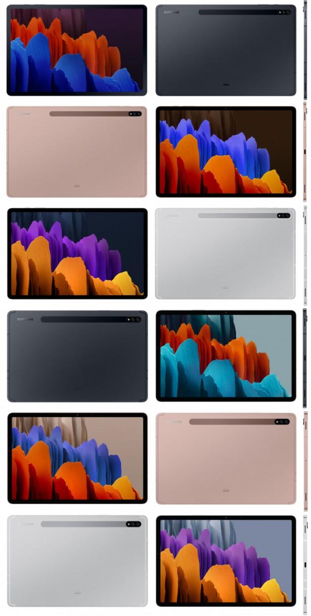 Все расцветки Samsung Galaxy Tab S7 и Tab S7+ на одном рендере
