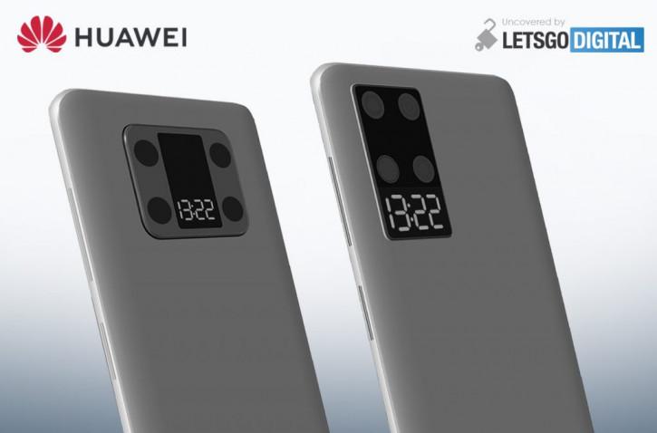 Патент смартфона Huawei с экраном между камерами