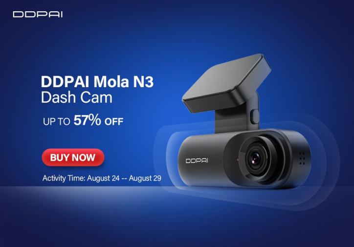 Видеорегистратор DDPai Mola N3 Dash Cam: захват UHD-видео и GPS