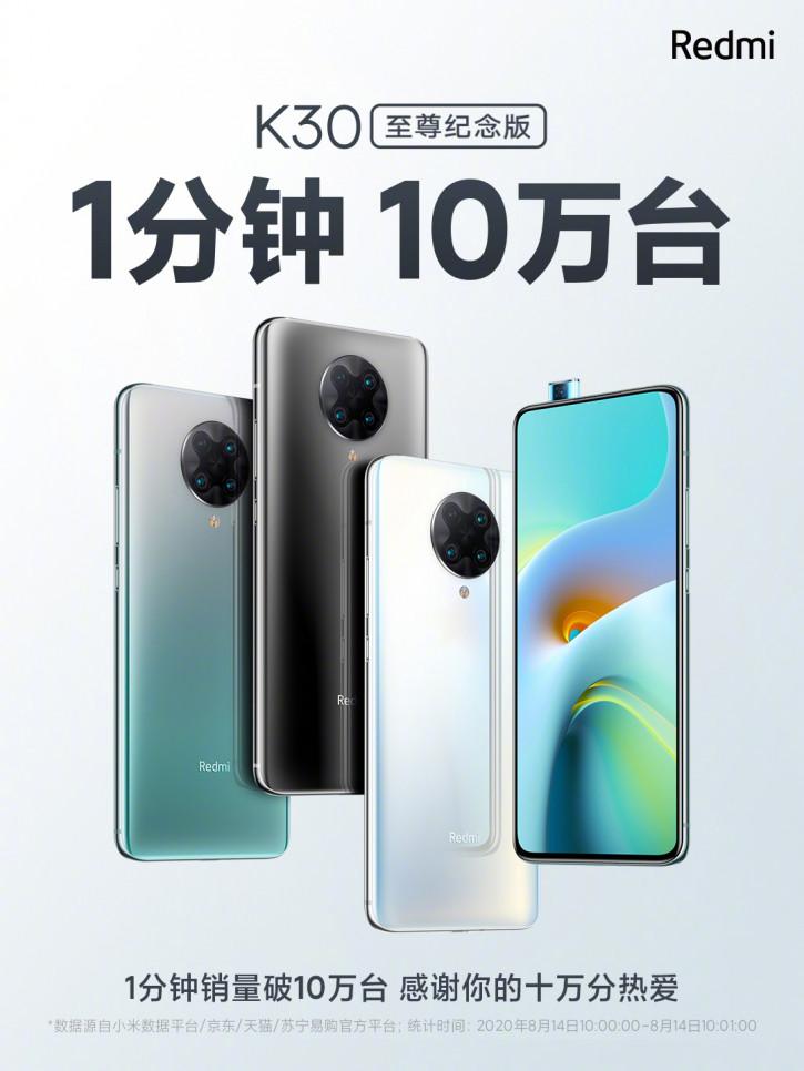 Другим в пример: Xiaomi продала 100 000 Redmi K30 Ultra за минуту
