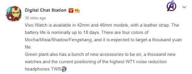 Следующие смарт-часы Vivo смогут работать без подзарядки до 18 дней