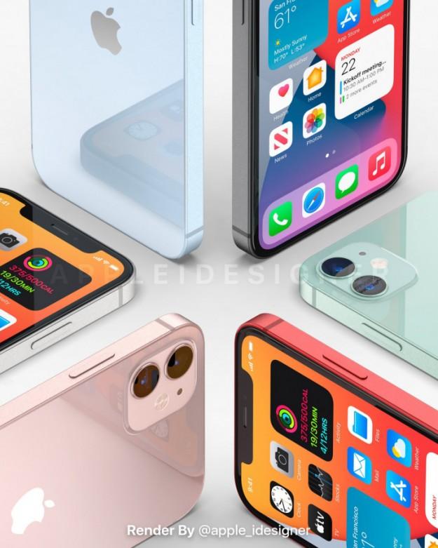 Шесть расцветок iPhone 12 представлены на качественных рендерах