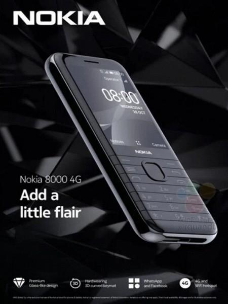 Такой оказалась Nokia 8000 4G. Телефон не имеет ничего общего с Nokia 8800