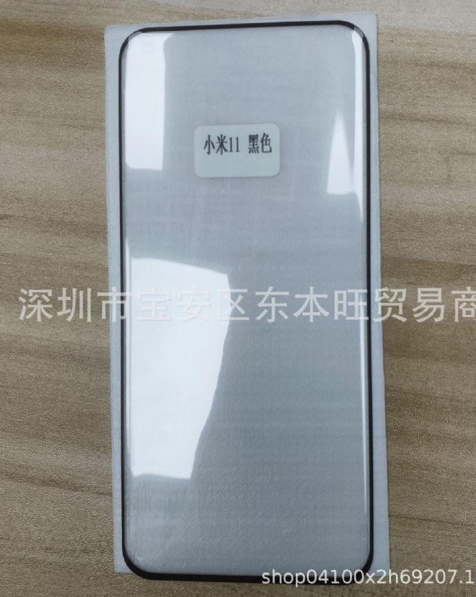 Настоящий дизайн лицевой панели Xiaomi Mi 11 на фото защитного стекла