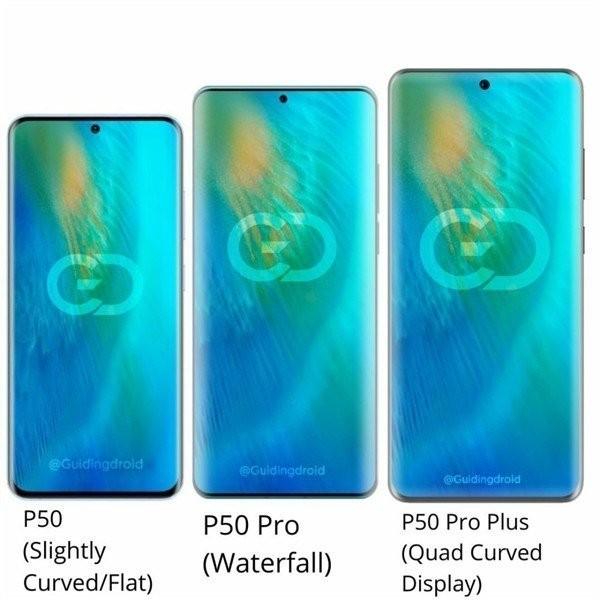 Huawei P50, P50 Pro и P50 Pro Plus вместе на одном рендере