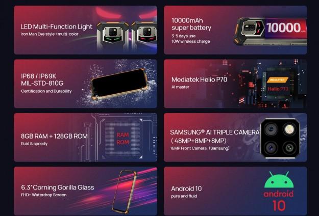 DOOGEE представляет смартфон S88 Plus с IP69K, тройной камерой, уникальной светодиодной подсветкой и 10 000 мАч