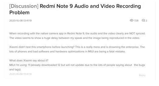 Проблема рассинхронизации звука и видео на Redmi Note 9 и Redmi 9 признана официально