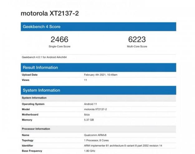 Недорогой 5G-смартфон Motorola Ibiza показался в GeekBench с 6 Гбайт ОЗУ и Android 11