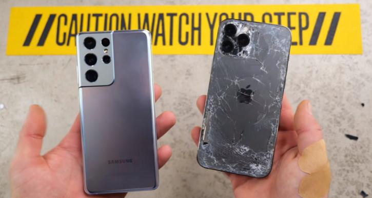 iPhone 12 Pro Max в тяжелом дроп-тесте одолел Samsung Galaxy S21 Ultra