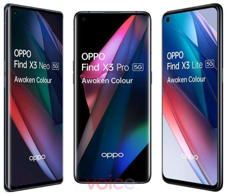 Семейное фото: OPPO Find X3 Pro, X3 Neo и X3 Lite вместе на рендере