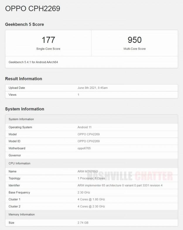 Недорогой смартфон Oppo A16 показался в тесте Geekbench с чипом Helio G35