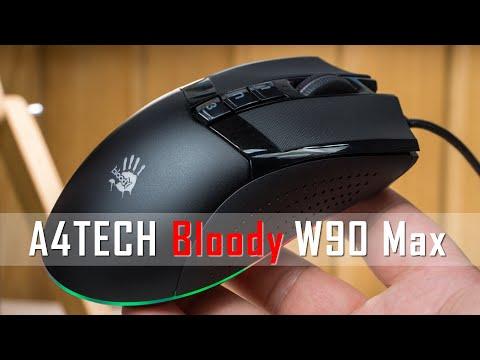 Видео обзор Bloody W90 Max от A4Tech - мышка с RGB  подсветкой и сенсором 10000 CPI