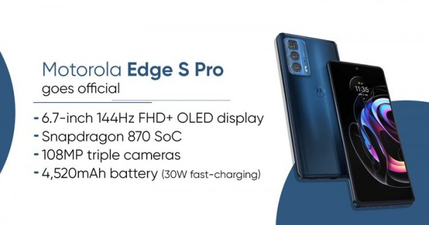 Motorola представила 370-долларовый смартфон Edge S Pro с чипом Snapdragon 870 и 108-Мп камерой