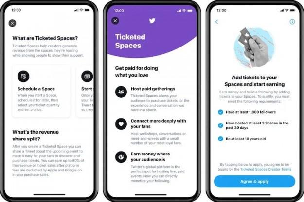 Twitter запускает функцию платных голосовых чатов Ticketed Spaces для iOS-устройств